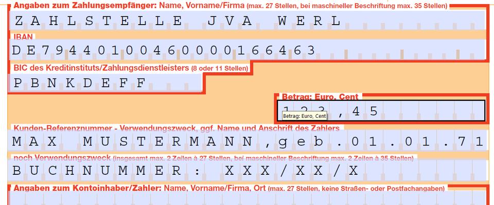 justizvollzugsanstalt werl bankverbindung - Iban Muster